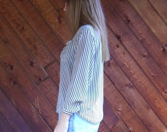 Black and Cream Striped SILK Button Down Blouse - Vintage 80s - XS S