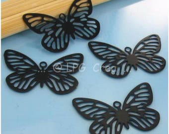 4 prints - Butterfly - Black - Max size: 16X24mm # S71