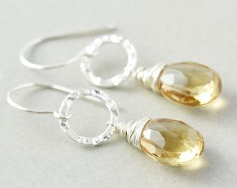 Quartz Dangle Earrings, Sterling Circle Earrings, Champagne Drop Earrings