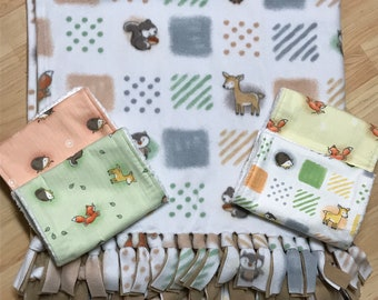 woodland animals baby blanket and burp cloth combo- handmade baby blanket - handmade burp cloths - tie baby blanket - cute baby gift