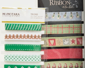 Two Packages of Christmas Ribbon - Each has Five Different Ribbons