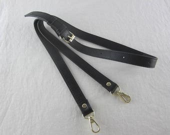 Black Leather Purse Strap Crossbody Bag Strap 2cm wide