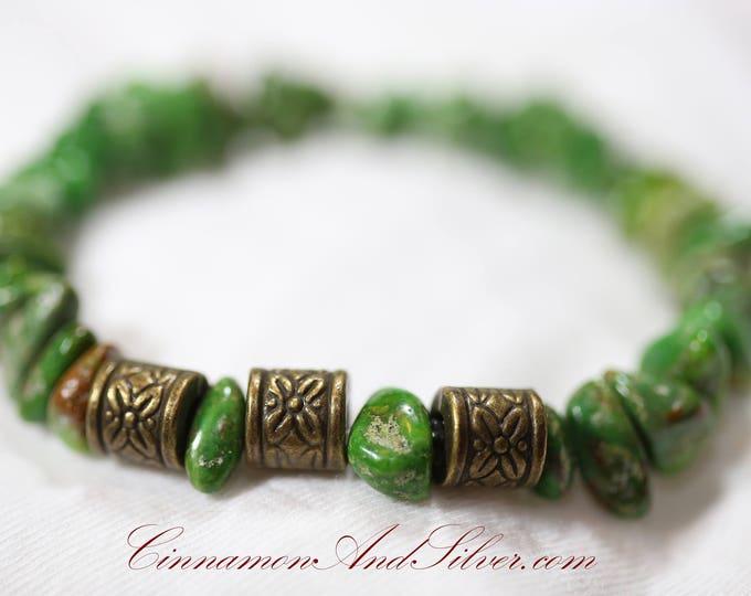 Boho Style Apple Green Magnesite Gemstones and Antiqued Brass Barrel Beaded Stretch Bracelet, Green Beaded Gemstone Hippie Stretch Bracelet