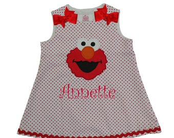 Girls Elmo birthday dress Girl Sesame Street Elmo dress Girl Elmo dress Girl birthday dress Girl Elmo dresses Girl Elmo applique dress