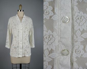 Vintage 1970s Sheer Lace Blouse 70s White Kimono Style Nylon Lace Top Size M