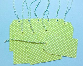 """Green and White Polka Dot Hang Tags - Set of 10 Large Tags 3"""""""