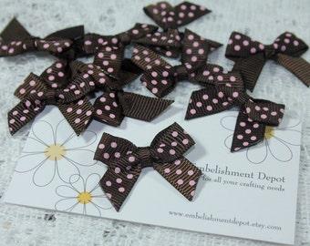 "10 Piece- 1"" Small Brown & Pink Polka Dot Bows-Sewing Supplies-Hair Bow Supplies-Craft Supplies"
