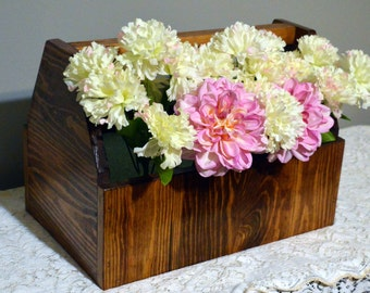 Wooden tool box, rustic table centerpiece, tool carrier, wood tool caddy, rustic tool box, flower box, Holiday decor