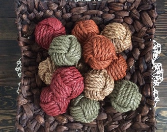 Decorative rope knot balls set of 12 - rope knot home decor - earthy bowl fillers - monkey fist knot decor - rustic home decor - knot balls