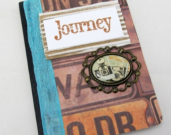 Mini Journal - Journey Notebook - Mini Notebook - Vintage Style - Little Notebook - Pocket Travel Journal - Turquoise Accent - Camera