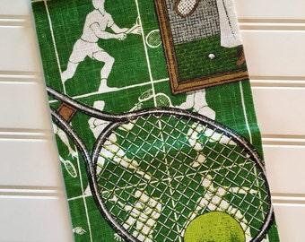 Lois Long Tennis Towel - All Linen Towel - Green Kitchen Towel - Vintage Linen Towel - 1960s 1970s Decor - Sports Towel