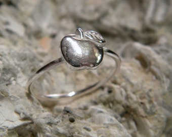 Silver 925, Apple Ring, MADE TO ORDER All sizes handcrafted.