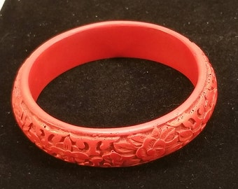 Vintage Chinese Cinnabar Bangle Bracelet, Carved Roses Floral Motif