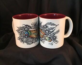 Art Drawing On Ceramic Coffee Mug Bird With Sunflower White/Maroon 2-Tone Cup Rhino Coated Mug Item #471508316