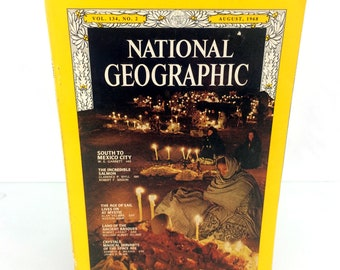 August 1968 National Geographic Magazine Single Issue South To Mexico City