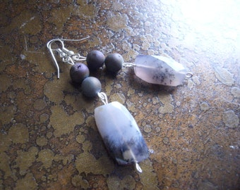 Stormy Nights Czech Druk Glass and Tourmalinated Quartz Beaded Dangle earrings