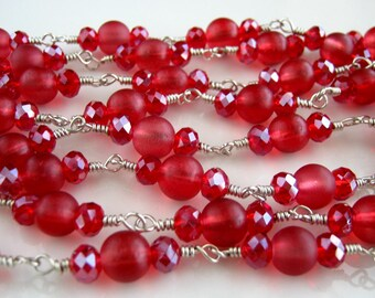 Long Silver and Red Necklace Long Red Chain Necklace (47.5 inches)