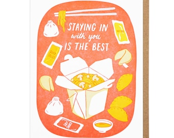 Staying In Takeout Letterpress Card