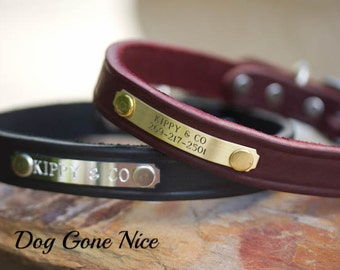 Leather Dog Collar // Personalized Dog Collar// Dog Collar// 3/4 inch Wide Collar // Leather Collar // ID Tag Collar // Pet Collar