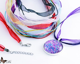 8 Pack of Organza Ribbon Cord Necklaces. Mix-N-Match 8 colors. Ribbon Cords with Extension Chains. Ribbon Pendant Necklaces