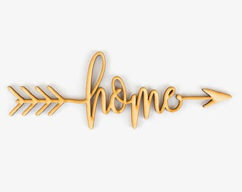 Home Arrow Wood Sign - Wood Sign Art, Wooden Sign, Laser Cut Wood, Wood Decor, Family Room Sign, Entryway Sign, Rustic Gallery Wall Sign