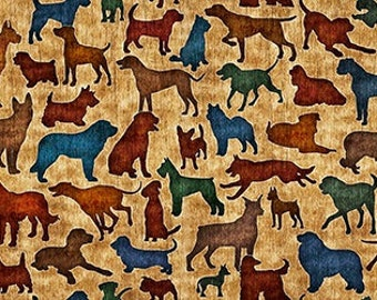 1649-24244-S DOG FABRIC ANTIQUE It's A Ruff Life - Dog Silhouettes, Quilting Treasures, Quilt Shop Fabric, Brown/Blue/Green Dogs