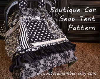 Boutique Car Seat Canopy Pattern - Baby Sewing Pattern - Rag Quilt Pattern - Carseat Cover Pattern - Baby Quilt Pattern - Easy Quilt Pattern