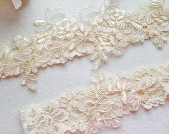 Wedding Garter , Tossing Garter, Keepsake Garter, bridal garter, champagne lace garter C03#