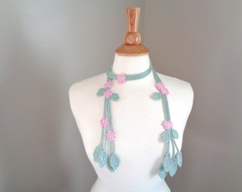 Crochet Lariat Scarf with Pink Flowers and Leaves, Skinny Summer Scarf, Choker Wrap Scarf, Women Teen Girls, Trendy Fashion, Pima Cotton
