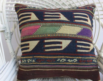 Embroidered kilim pillow Turkish kilim pillow20x20pillow covers striped kilim pillow decorative pillows for couch brown dark blue color 1075