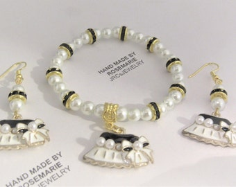 Black and White Hat Stretchy Bracelet and Earrings