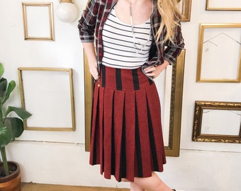 Vintage Italian Wool Pleated Red Black Striped Skirt - sz 12 - Free Ship
