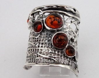 Hadar Jewelry Handcrafted 925 Sterling Silver Amber Ring size 7.5, Amber silver band, Honey Amber ring, Birthday gift, gift for her, (H 144)