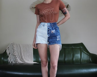 XS Vintage 501 Levi's Dip Dyed Distressed Cut Off Shorts // XS S 24 0