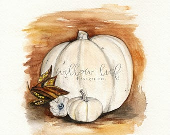 Cottage Pumpkin,  Thanksgiving Art,  Fall watercolor, Autumn, White Pumpkins, Watercolor Print