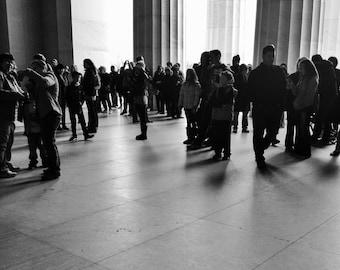 Lincoln Memorial Silhouettes, Washington DC // Black and White Fine Art Photography // Square Photo Print