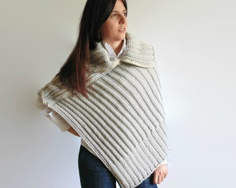 Poncho Knitted in Pearl Gray Merino Wool with Zip - Hand Knit, Woman Knitwear, Turtleneck, Wrap Cardigan, Cape, Chunky, Asymmetric, Winter