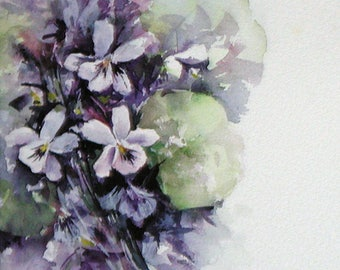 The Brittney Collection Violets Folded Note Card