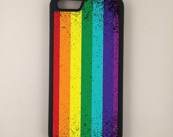 LGBT Grunge Flag iPhone Galaxy Note LG HTC Protective Hybrid Rubber Hard Plastic Snap on Case Black