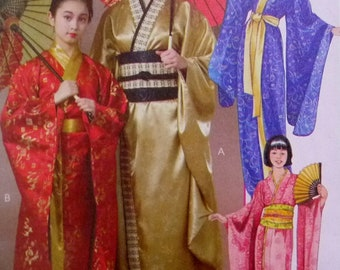 Kimonos Robes With Obi or Sash, Geisha Costume, McCall's 4953 Sewing Pattern Miss Sizes XS 4-6, S 8-10, M 12-14, L 16-18 UNCUT
