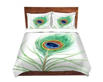 Duvet Cover Peacock Feather Painting - Nature Modern Bedding - Queen Size Duvet Cover - King Size Duvet Cover