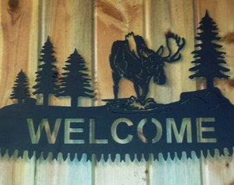 "Custom Moose Silhouette ""WELCOME"" Cut Out on Cross Cut Saw Replica Complete with Handles Can Be Personalized"