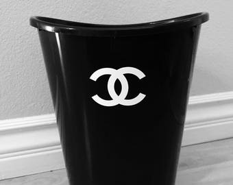 Black white designer logo wastebasket trash can