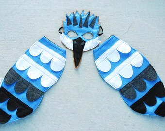 Belted Kingfisher Bird Costume - Mask, Wings, Mask & Wings Combo Pack