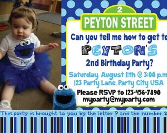 Cookie Monster & Sesame Street Birthday Invitation - Custom Digital File