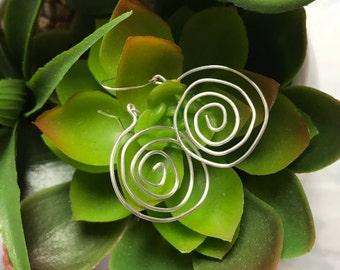 Silver Spiral Wire Earrings