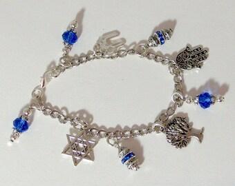 Jewish Charm Bracelet - Sapphire Blue