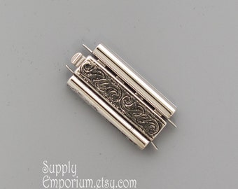 10x24mm Elegant Elements Beadslide Antique Silver Swirl Clasp- Delica Bead Bracelet Beadslide Clasp in Swirl Antique Silver, 3655, 1 Clasp