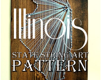 "Illinois - DIY State String Art Pattern - 10.5"" x 6"" - Hearts & Stars included"