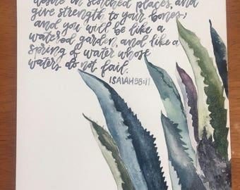 Isaiah 58:11 9X12 Original Watercolor